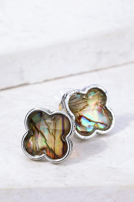 Faceted Resin Clover Earrings - Abalone