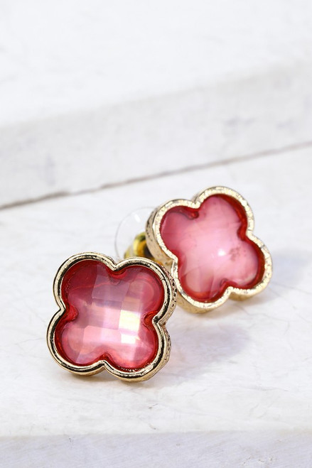 Faceted Resin Clover Earrings - Pink