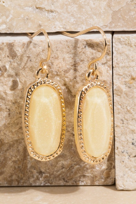 Glass and Pave Earrings - Ivory