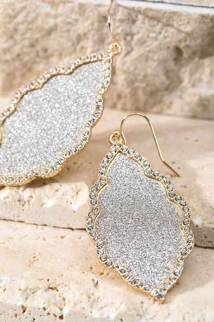 Moroccan Flower Pave Earrings - Gold & Silver