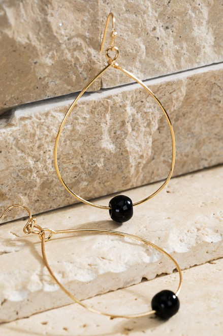 Tear Drop and Natural Stone Earrings - Black