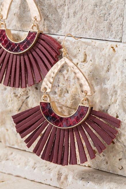 Faux Snake and Tassel Earrings - Burgundy