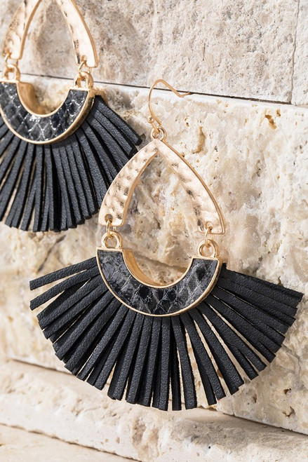 Faux Snake and Tassel Earrings - Black