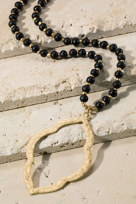 Wood and Moroccan Flower Necklace - Black