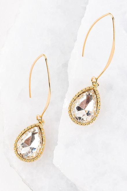 Colored Glass Tear Drop Hook Earrings - Crystal