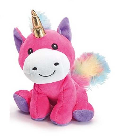 Plush Unicorn with Gold Horn - Pink
