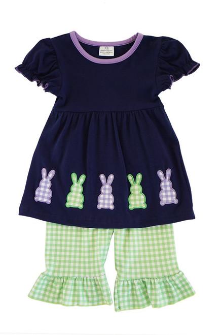 Navy Bunny Applique Set