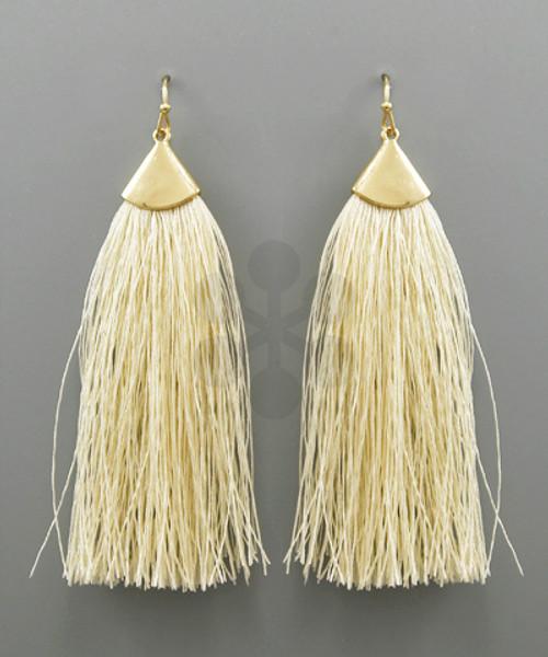Fringe Tassel Earrings - Ivory