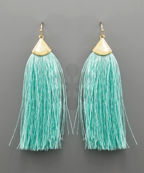 Fringe Tassel Earrings - Mint