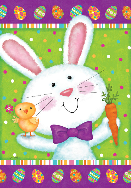 Bowtie Bunny Printed Garden Flag
