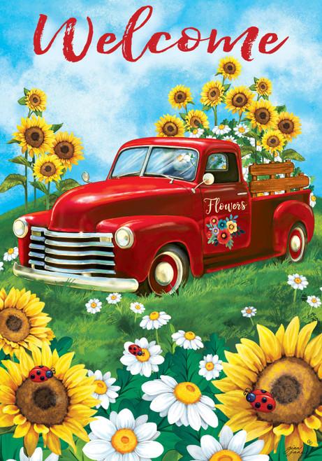 Sunflower Truck Garden Flag
