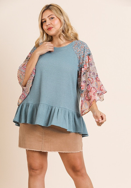 Kendall Mixed Print Bell Sleeve Top - Lagoon