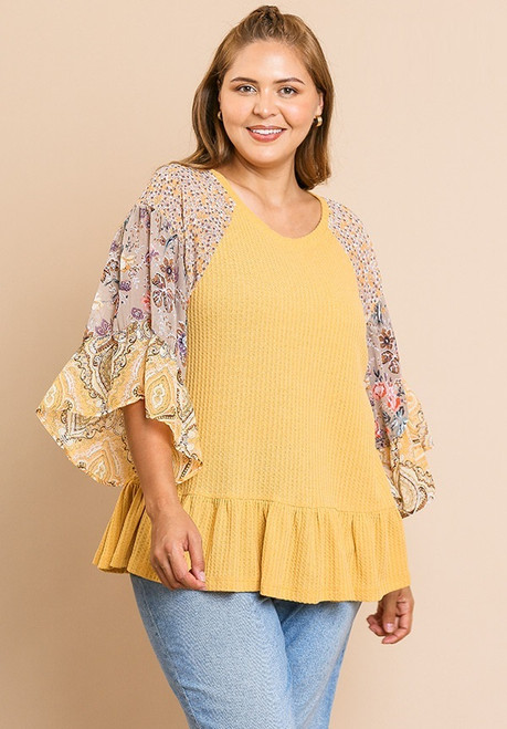 Kendall Mixed Print Bell Sleeve Top - Mustard