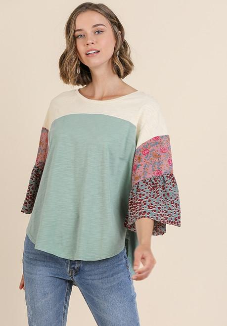 Melissa Mixed Floral Colorblock Top - Dusty Mint