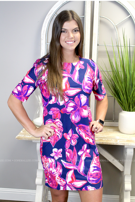 Rosa Elbow Sleeve Dress - Navy & Pink