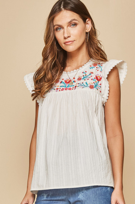 Jane Floral Embroidered Top - Ivory