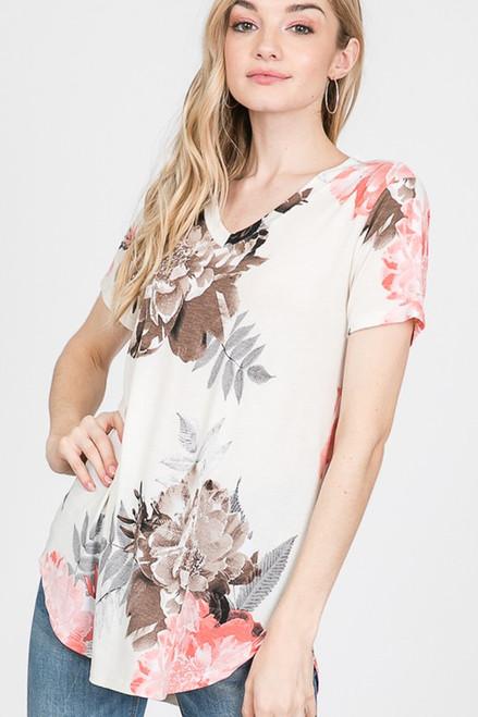 Stacia Floral Print Top - Cream