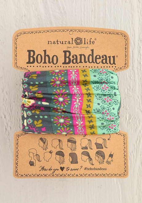 Boho Bandeau Headband - Green Stripe Print
