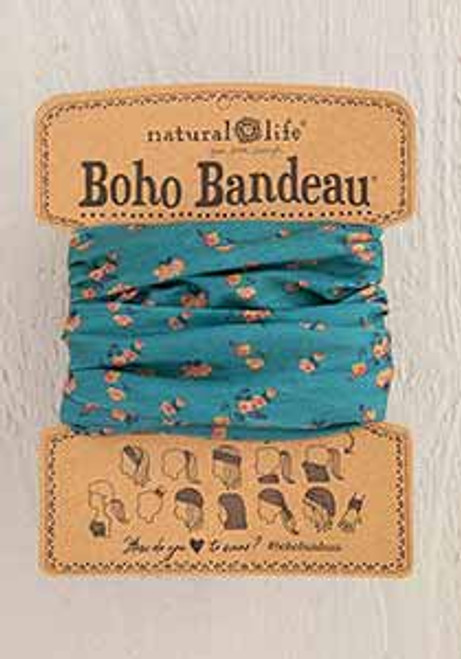 Boho Bandeau Headband - Turq Floral Print