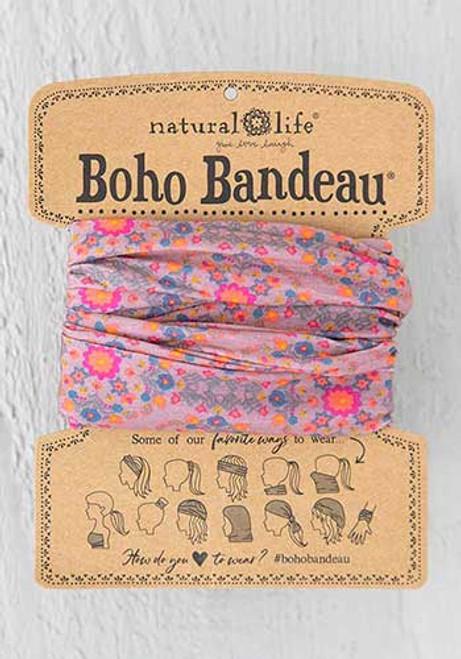Boho Bandeau Headband - Pink Flower Stamp