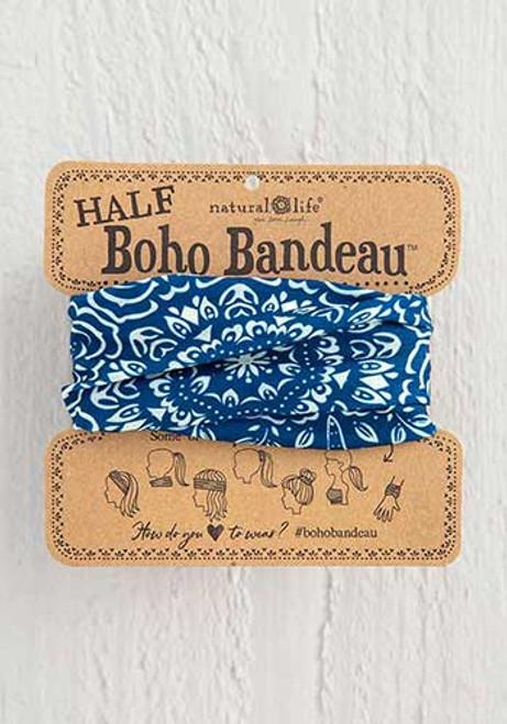 Half Bandeau Headband - Navy Cream Mandala