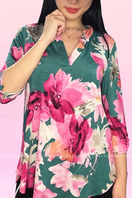 Gabby Floral Blouse Top - Hunter Green & Mauve