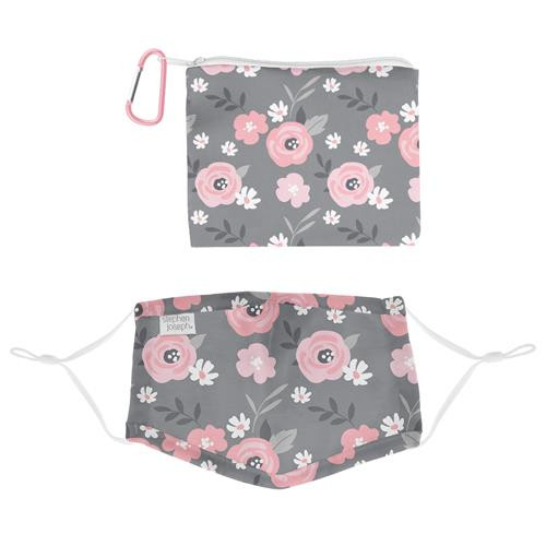 Kids Face Mask With Pouch - Floral
