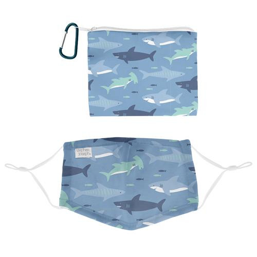 Kids Face Mask With Pouch - Blue Shark