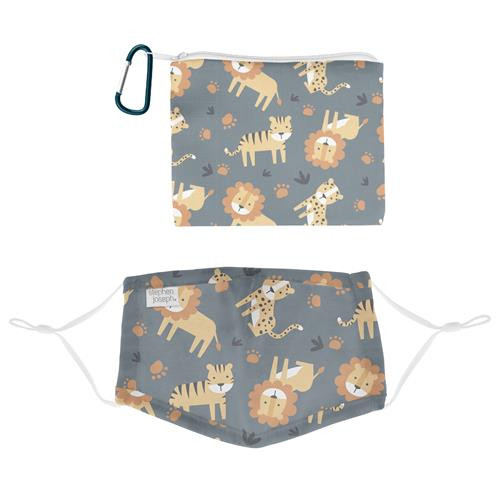 Kids Face Mask With Pouch - Grey Zoo