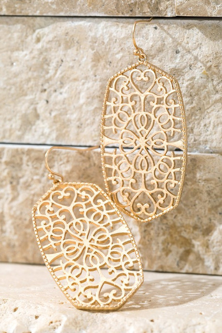 Oval Filigree Earrings - Gold