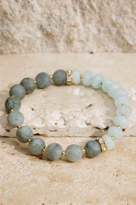 Glass Bead & Stone Bracelet - Labradorite