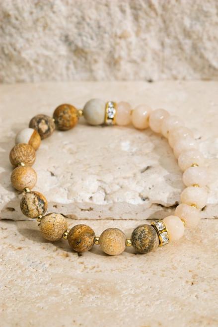 Glass Bead & Stone Bracelet - Picture Jasper