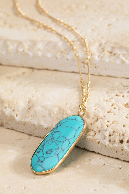 Oval Natural Stone Necklace - Turquoise