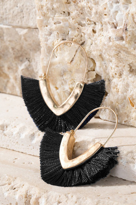 V-Shape Tassel Earrings - Black