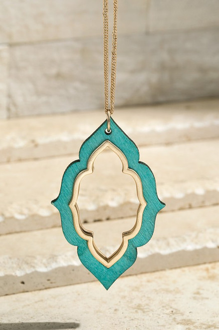 Wooden Marquee Necklace Set - Teal