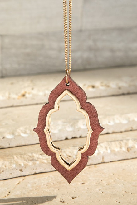Wooden Marquee Necklace Set - Brown