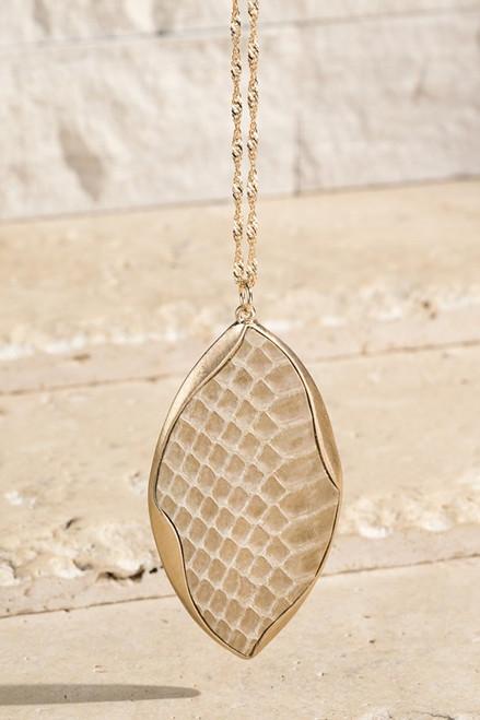 Genuine Leather Pendant Necklace - Beige Snake