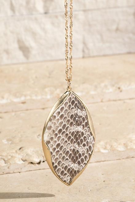 Genuine Leather Pendant Necklace - Snake