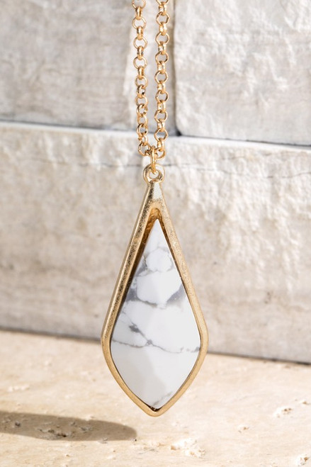 Natural Stone Teardrop Necklace - Howlite