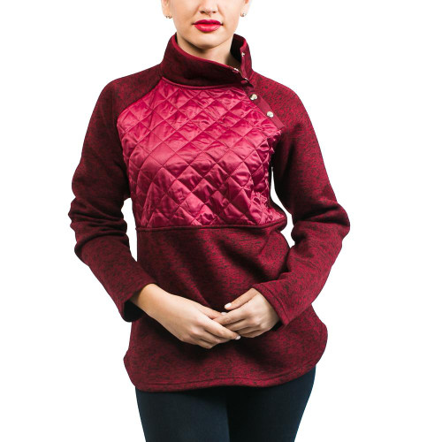 Paxton Quilted Pullover - Maroon