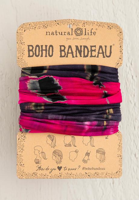 Boho Bandeau Headband - Pink Grey Tie Dye