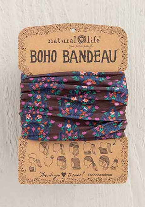 Boho Bandeau Headband - Mauve Trellis