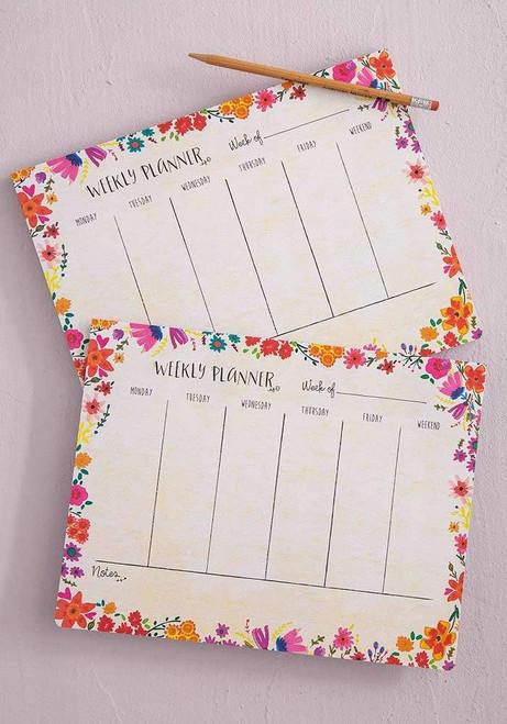 Pink Floral Weekly Desk Planner Pad