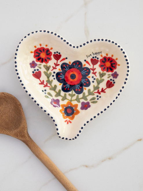 Live Happy Heart Spoon Rest