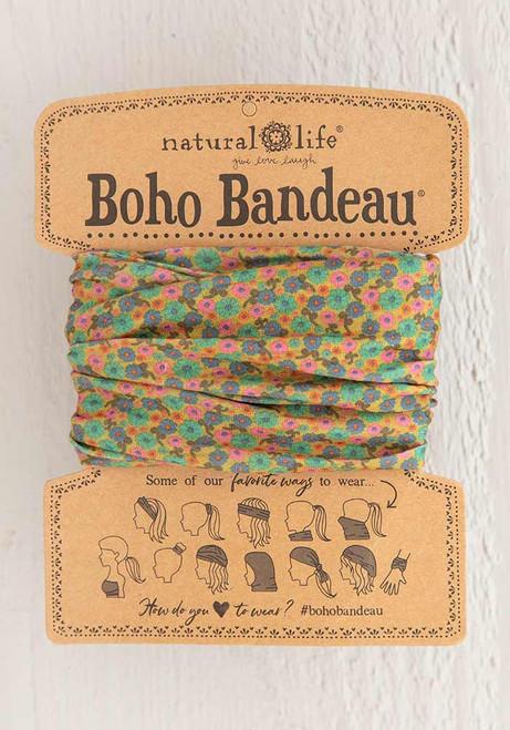 Boho Bandeau Headband - Mustard Floral