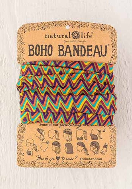 Boho Bandeau Headband - Multi Zizgag