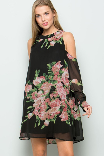 Zoey Open Shoulder Floral Dress - Black