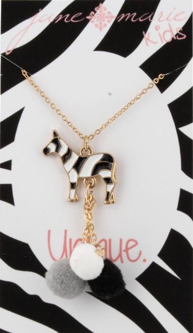 Zebra Pom Tassel Necklace - Youth