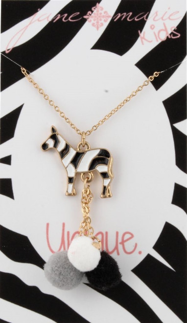 Zebra Pom Tassel Necklace - Youth