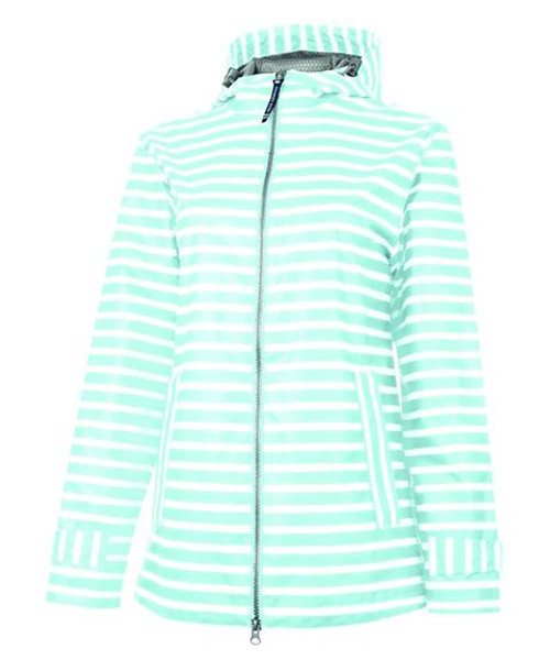 New Englander Rain Jacket - Aqua Stripe